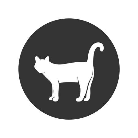 Cat graphic icon. Cat sign in the circle isolated on white background. Vector illustration