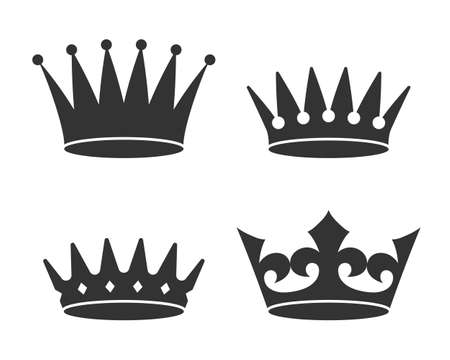 Crowns graphic icon set. Different signs crown isolated on white background. Royal symbols. Vector illustration Vettoriali