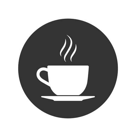 Cup with vapour icon. Cup with hot drink graphic sign in the circle isolated on white background. Vector illustration
