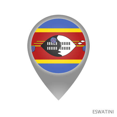 Map pointer with flag of Eswatini. Colorful pointer icon for map. Vector Illustration. Vettoriali