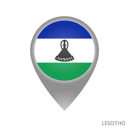Map pointer with flag of Lesotho. Colorful pointer icon for map. Vector Illustration.