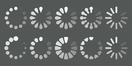 Process web download or update set icons. Buffer and loading set symbols isolated on gray background. Vector illustration Vettoriali