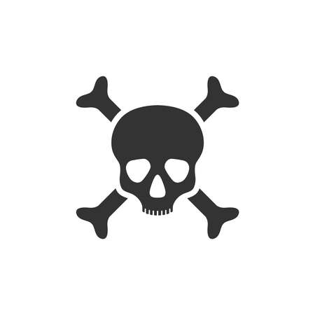 Human skull and bones graphic icon. Skull and bones sign isolated on white background. Mortal danger symbol. Vector illustration