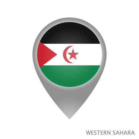 Map pointer with flag of Sahrawi Arab Democratic Republic. Colorful pointer icon for map. Vector Illustration.