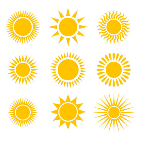 Suns graphic icons set. Suns pictograms isolated on white background. Symbols of summer. Vector illustration Vettoriali
