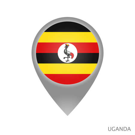 Map pointer with flag of Uganda. Colorful pointer icon for map. Vector Illustration.