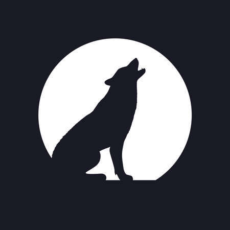 Wolf graphic icon. Wolf howls at the Moon sign isolated on black background. Vector illustration