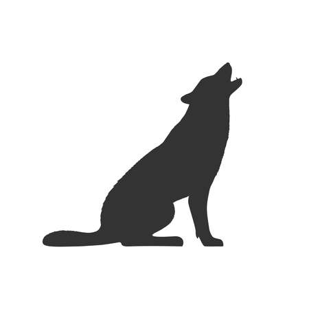 Wolf graphic icon. Wolf sits and howls sign isolated on white background. Vector illustration Vettoriali