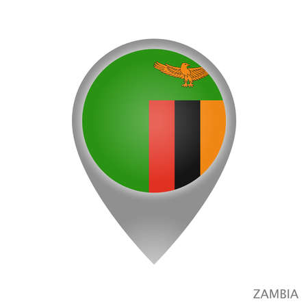 Map pointer with flag of Zambia. Colorful pointer icon for map. Vector Illustration.