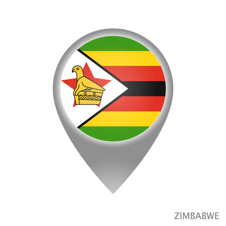 Map pointer with flag of Zimbabwe. Colorful pointer icon for map. Vector Illustration.