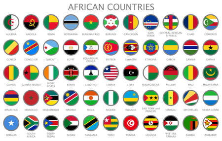 All national flags of the African countries in alphabetical order. Official colors flags and round design. 55 flags of the African continent. Vector illustration