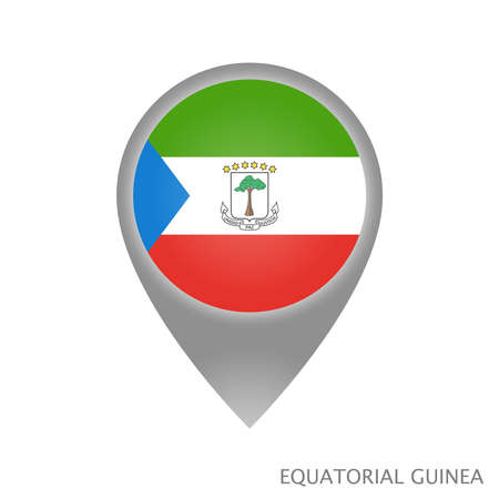 Map pointer with flag of Equatorial Guinea. Colorful pointer icon for map. Vector Illustration.