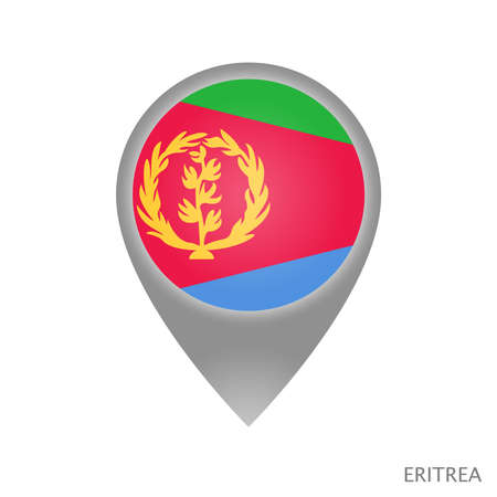 Map pointer with flag of Eritrea. Colorful pointer icon for map. Vector Illustration.