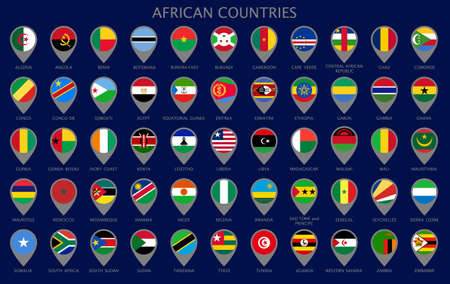 Map pointers with all national flags of the African countries in alphabetical order. Official colors flags. Colorful set map pointers. Vector illustration Vettoriali