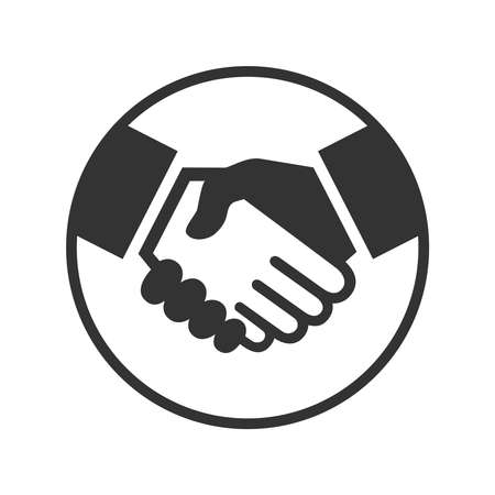 Business agreement handshake or friendly handshake. Handshake graphic icon in the circle isolated on white background. Vector illustration