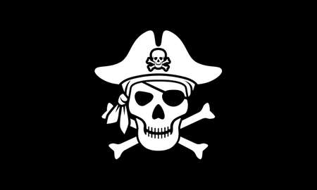 Symbol Jolly Roger. Pirate flag with white skull and bones isolated on black background. Sign skull in bandana and pirate hat. Vector illustration Vettoriali