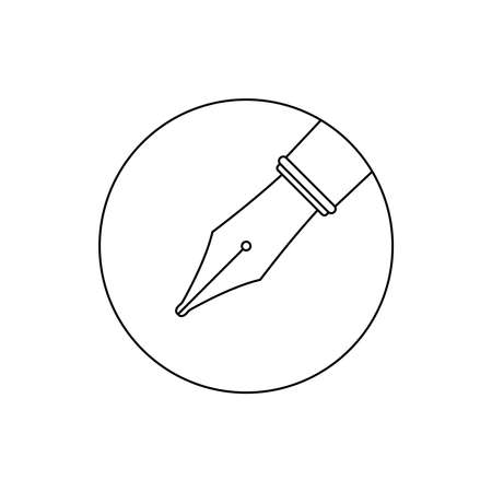 Ink pen graphic icon. Ink nib sign in the circle isolated on white background. Fountain pen symbol. Vector illustration