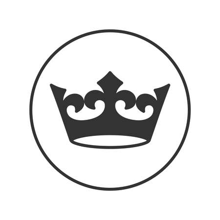 Crown graphic icon. Crown sign in the circle isolated on white background. Royal symbol. Vector illustration