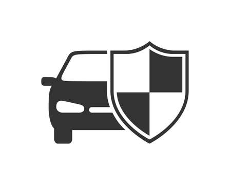 Car behind shield graphic icon. Car insurance sign isolated on white background. Symbol of protections car.