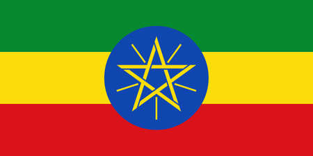 Ethiopia flag with official colors and the aspect ratio of 1: 2. Flat vector illustration.