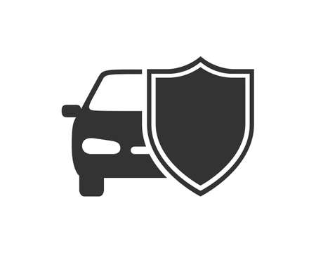 Car behind shield graphic icon. Car insurance sign isolated on white background. Symbol of protections car. Vector illustration