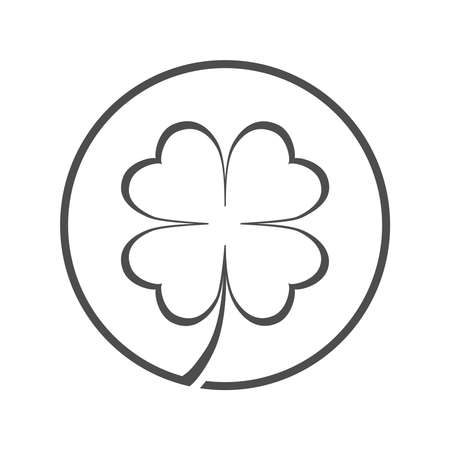Clover symbol with four petals. Clover sign in the circle isolated on white background. Vector illustration