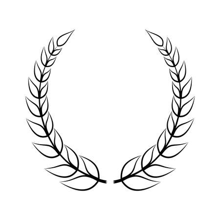 Laurel wreath icon. Emblem made of laurel branches. Laurel leaves symbol of high quality olive plants. Sign isolated on white background. Vector illustration Vettoriali
