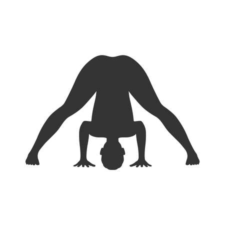 Woman in yoga pose graphic icon. Silhouette of a woman practicing yoga. Sign Isolated on the white background. Vector illustration Vettoriali