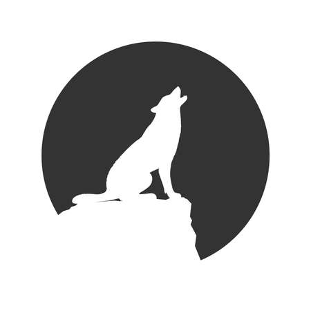 Wolf on the rock graphic icon. Wolf howls at the Moon. Sign in the circle isolated on white background. Vector illustration