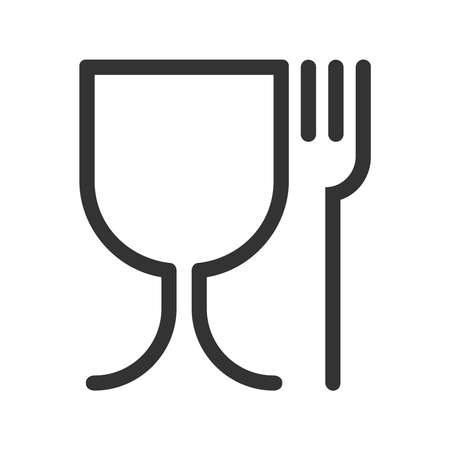 Safe food graphic icon. Symbol safety materials contacting with food. Wine glass and fork abstract signs isolated on white background. Vector illustration Vettoriali