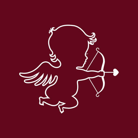 Cupid graphic icon. Cupid with bow and arrow sign isolated on dark red background. Love symbol. Vector illustration