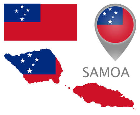 Colorful flag, map pointer and map of Samoa in the colors of the Samoa flag. High detail. Vector illustration
