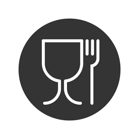 Symbol safe materials contacting with food. Wine glass and fork sign in the circle isolated on white background. Safe food. Vector illustration Vettoriali