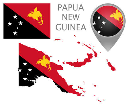 Colorful flag, map pointer and map of Papua New Guinea in the colors of the Papua New Guinea flag. High detail. Vector illustration