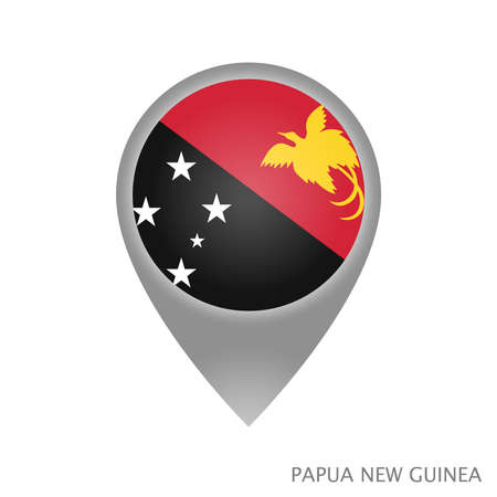 Map pointer with flag of Papua New Guinea. Papua New Guinea pointer map isolated icon. Vector Illustration