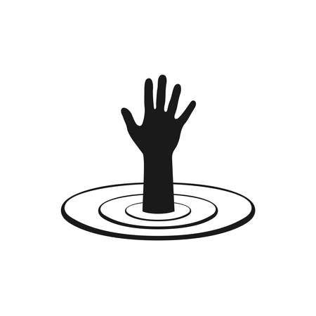 Hand of sinking man over the water graphics symbol. Help drowning sign isolated on white background. Vector illustration
