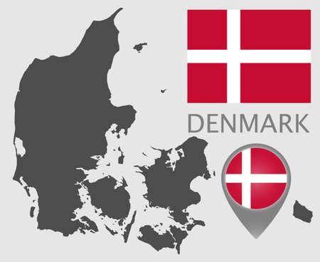 Flag, map pointer and blank map of Denmark. High detail. Vector illustration