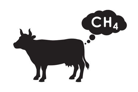 Methane is released by the cow. An increase in greenhouse gases from digestive activity of ruminants. CH4 emissions sign isolated on white background. Vector illustration
