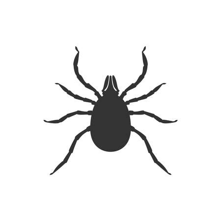 Mite graphic icon. Mite black sign close up isolated on white background. Vector illustration Иллюстрация
