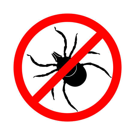 Mite in the prohibition sign. Warning sign stop mite insect pest. Symbol for informational and institutional sanitation and related care, Vector illustration