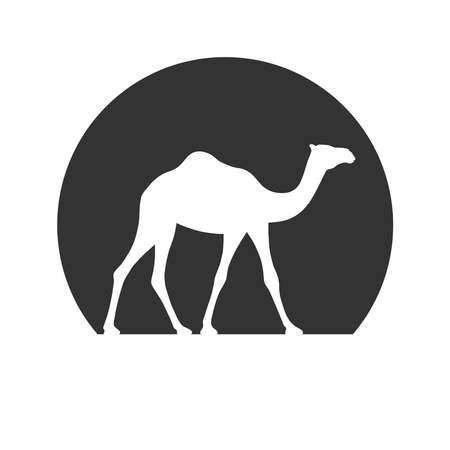 Camel graphic icon. Camel in the circle sign isolated on white background. Camel symbol of desert. Vector illustration