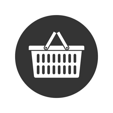 Shopping basket graphic icon. Food basket sign in the circle isolated on white background. Vector illustration Illusztráció
