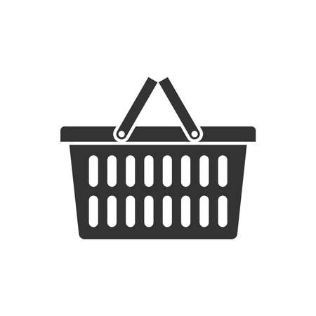 Shopping basket graphic icon. Food basket sign isolated on white background. Vector illustration Ilustración de vector