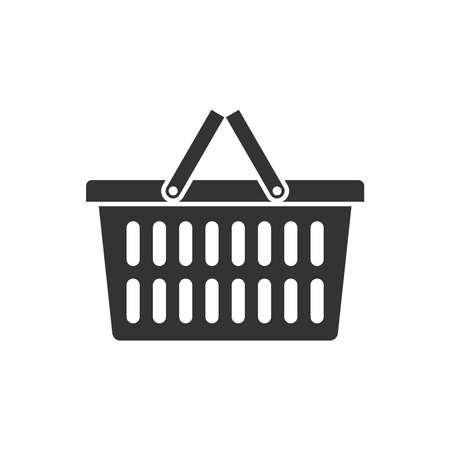 Shopping basket graphic icon. Food basket sign isolated on white background. Vector illustration Ilustracje wektorowe