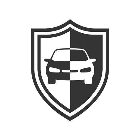 Car on the shield graphic icon. Car insurance sign isolated on white background. Symbol of protections car. Vector illustration