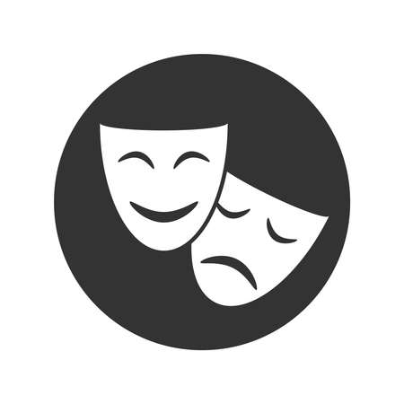 Theatrical masks graphic icon. Sign masks in the circle isolated on white background. Symbol of theater. Vector illustration