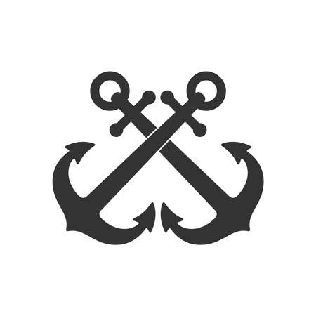 Crossed anchors graphic icon. Anchors of ships sign Isolated on white background. Vector illustration