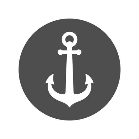 Anchor of ship graphic icon. Anchor sign in the circle isolated on white background. Vector illustration
