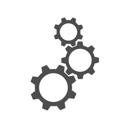 Gears graphic icon. Three gear sign isolated on white background. Vector illustration