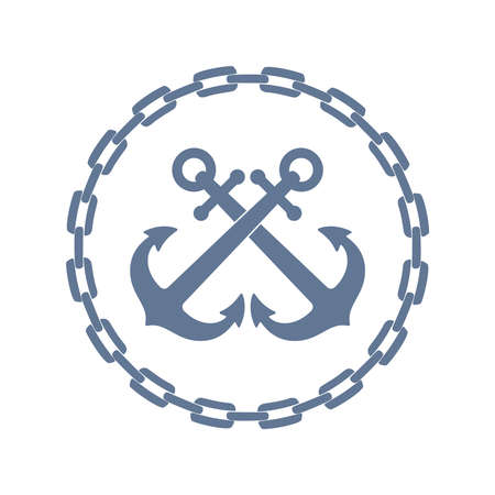 Crossed anchors in framing from chain. Anchors graphic sign isolated on white background. Marine symbol. Vector illustration Illusztráció